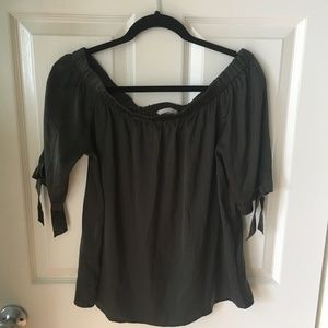 H&M Off-The-Shoulder Satin Blouse - Size 10